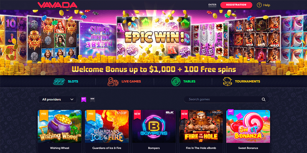 Вебсайт казино вавада